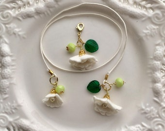 Ivory Felt Flower Bookmark and Spine Charm with emerald and lime Beads, Travelers Notebook Accessories, TN Charms, TN Accessories
