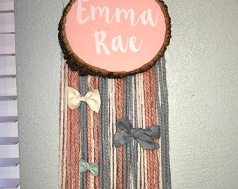 Custom Wood and Yarn Bow Organizer