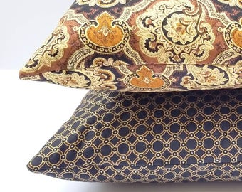 """Decorative Throw Pillow - black brown and gold floral print 16""""×16"""""""