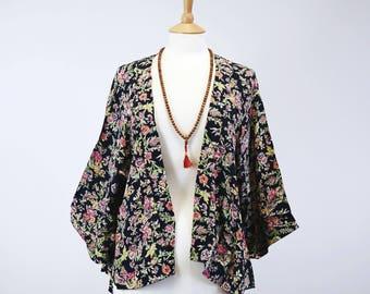 Navy Floral Kimono Jacket