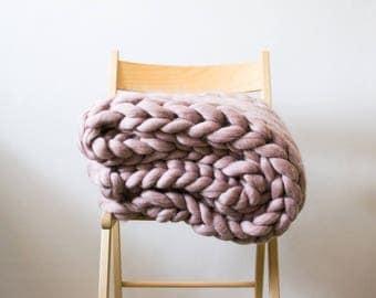thick yarn merino wool plaid blanket/Плед из 100% шерсти мериноса