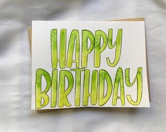 Handlettered Birthday Card, Birthday Card, Handmade Card