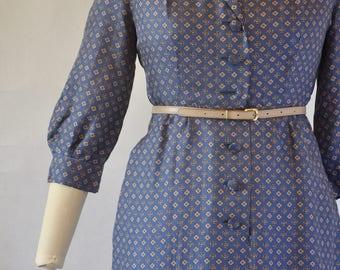 1940s blue silk day dress  /  Shirtdress  Size m Bust 40'