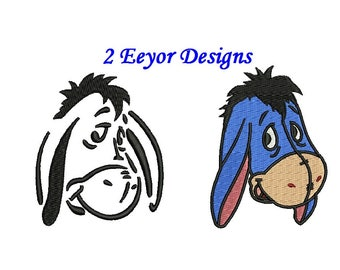 Eayor Embroidery Design - 2 designs Fill + outline ( not applique ) - instant download - Winnie the Pooh Embroidery