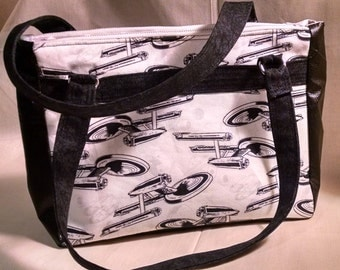 Star Trek Handbag: White, Black, Grey print Free Shipping in US