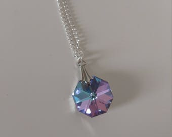 Amethyst Preciosa Crystal Necklace, Light Vitrail Crystal Necklace, Preciosa Light Vitrail Necklace