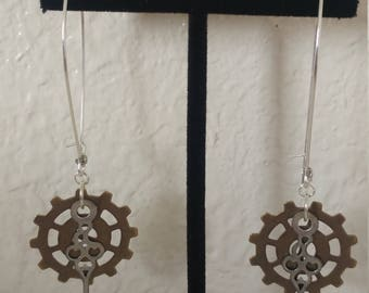 Steampunk Earrings, Clock hand and Brass gear, Silver and Brass