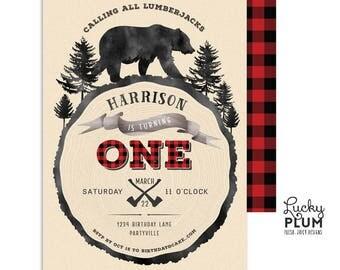 Lumberjack Birthday Invitation / Lumberjack First Birthday Invitation / Bear Birthday Invitation / Woodland Buffalo Plaid Rustic