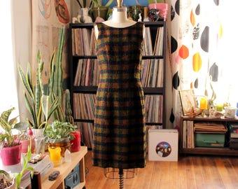 vintage wiggle dress . nubby wool plaid sheath dress . black, olive green and brown . 1950s 60s dress, womens small medium