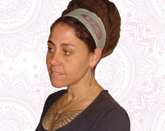 Organic Cotton and Hemp headband, great for dreads too - handmade dyed and printed with feathers - Reversible -