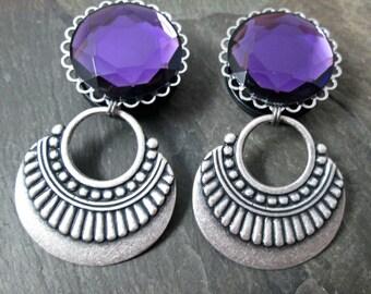 "Tribal Dangle Plugs - 7/8"" 22mm - 1"" 25mm Gauges - Gothic Jewelry - Wedding Gauges - Plug Earrings"