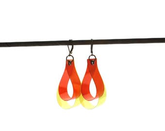 DROP earrings, color key,  yellow and orange - gifts for her - colorful jewelry - unique earrings