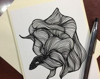 Unfurled Beta Fish Note Card - Original Ink Drawing Print