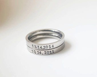 Name Date Ring Stacking Wedding Date Ring Birthdate Stackable Ring Staking Ring Bridesmaid Ring Kid Rings Mommy Ring Family Ring