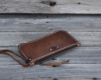 Leather Zipper Wallet / Large Zippered Wallet / READY TO SHIP / Phone Pouch / Hand Stitched Leather / Large Wallet / Feral Empire
