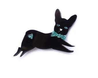 French Bulldog brooch- black acrylic laser cut illustration - frenchie jewellery jewelry dog pin