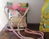 Little Purse, Bag, Necklace Bag, Small Shoulder Purse, Vintage Textiles, Patchwork, Quilted, Pretty Purse, Pouch, Rustic