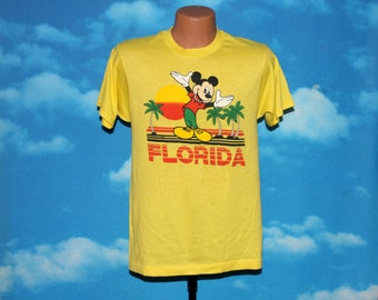 Mickey Mouse Florida Sherry Screen Stars Very RARE Yellow Tshirt Vintage 1980s