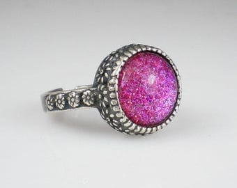Pink Lavender Glitter Ring Nail Polish Adjustable Ring Jewelry