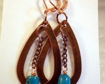 Copper Oval Hoop Earrings with Turquoise Dangle