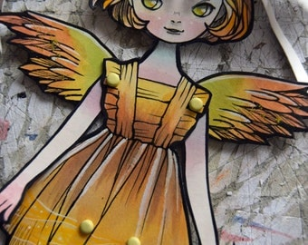 Jointed Articulated Paper Dolls - OOAK - Hand Painted - Folk Art - Paper Goods  - Anime - Manga style - I have Wings #003