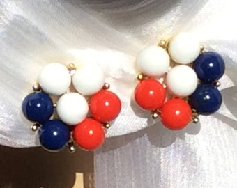 Red white and blue cluster clip earrings 1960s vintage