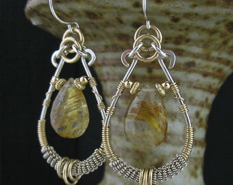 Mixed Metals Gold Silver Wire Wrapped Gemstone Earrings, Wire Wrapped Mixed Metals Jewelry, Golden Rutilated Quartz Earrings