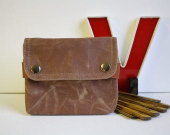 Waxed canvas UNISEX pouch -  acorn - unisex waxed canvas travel waist belt pouch