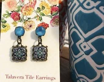 Mexican Tile earrings, Vintage glass cabochon, Drop earrings, Tile design earrings, Mexican jewelry, Dangle earrings