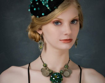 Glorious hand beaded hat. Turquoise and black headpiece. Beaded fascinator.