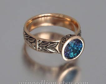 LAUREL CROWN 14k gold ring with created Alexandrite