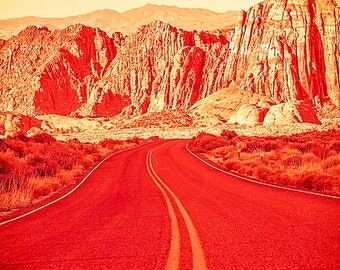 Winding Road in Southwestern Utah - Landscape Photography - Snow Canyon - Orange Decorative Photography