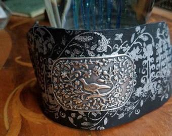 Woodlands bird leather cuff bracelet