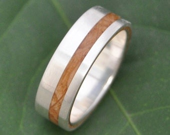 Equinox Bourbon Barrel Oak Wood Ring with Recycled Silver - whiskey barrel wood wedding ring, bourbon barrel wedding ring