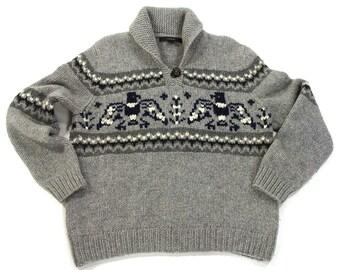 90s Southwest Sweater / Vintage 1990s Chunky Cowichan Style Sweater / Thunderbird Fairisle Winter Pullover / Warm SOFT Lambswool / Unisex