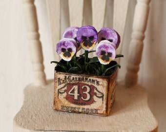 Dolls House Miniature Pansy Planter