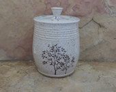 Compost Crock - Handmade Stoneware Pottery Ceramic - White and Sapphire Blue - Trees - 1-1/2 quart