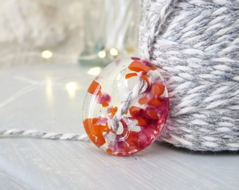Handmade Glass Button. Fused Glass Button. Orange and Pink Glass Button, Unique Button. Sewing Supplies