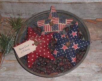 Set of 3 - Primitive - Patriotic - Americana - Sweet Land of Liberty - USA - July 4 - Stars - Ornies - Ornaments - Bowl Fillers - Tucks -