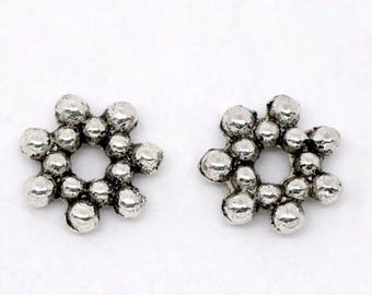 SNOWFLAKES antiqued silver finish spacer beads 6.5mm 100pcs