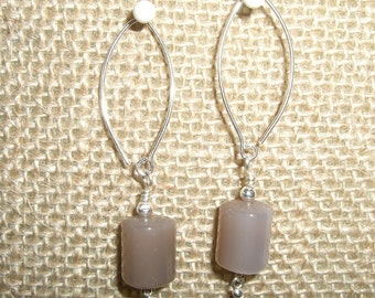 Brown Moon Stone and Sterling Silver Earrings