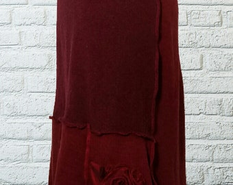 Ruffled Wool Sweater Skirt M Medium Recycled Red Eco Friendly Patchwork
