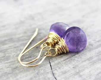 Amethyst Gold Earrings, February Birthstone Earrings, Purple Amethyst Earrings, Amethyst Gemstone Earrings, Amethyst Drop Earrings