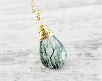 Green Tourmalinated Quartz Necklace, Dark Green Necklace, Gold Pendant Necklace, Gemstone Pendant Necklace, Gold Fill Necklace