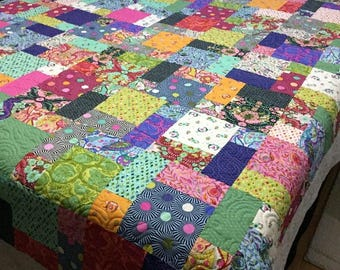 "Double Queen bed Quilt SLOW and STEADY 82"" x 100"" Tula Pink Minky Backed Ready to Ship"