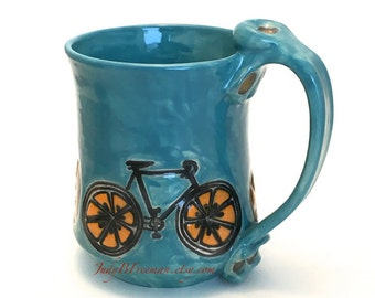 Ceramic Stoneware Orange Slice Bicycle Mug Handmade Turquoise Blue Made to Order MG0066