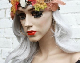Feather Psytrance Fairy Pixie Leaf Crown Headband