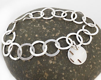 Kiss Charm Sterling Bracelet Hammered Soldered Chain  Smooth Unisex Woman Man 9.5 inches