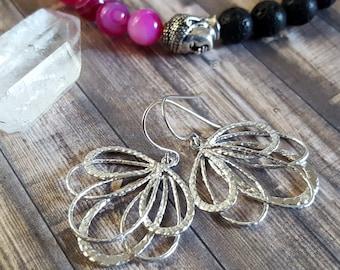 Silver Fan Earrings, Gold Fan Earrings, drop earrings, dangle earrings, Modern Rustic Jewelry, Rustic earrings, silver earring, gold jewelry