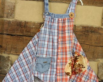 Womens Tunic Top Denim Crochet Doily Upcycled Hippie Clothes Shabby Boho Chic Clothing Tattered Mori Girl Style
